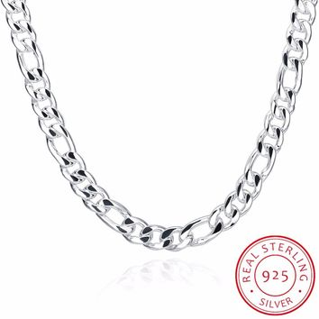 INALIS Men's Fine Jewelry 24'' 60cm 10MM Figaro Chain Necklace 925 Sterling Silver Jewelry Statement Necklace Colar de Prata