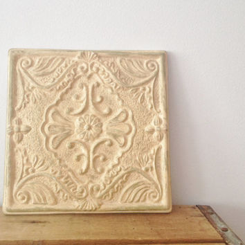 Shabby Chic Ceramic Wall Plaque - Decorative Wall Art