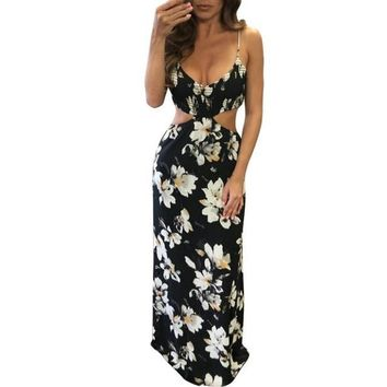 Boho Floral print chiffon maxi dresses Lady Sling Strapless Hollow Out Backless Beach Summer Sexy Women Long Dress Vestidos #63