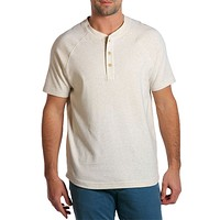 Puremeso Heathered Short Sleeve Henley in Stone by The Normal Brand