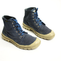 Vintage 80's 90's Palladium Pampa Hi Blue Canvas Lace Up Hiking Boots Sneakers