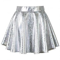 Silver Holographic Mini Skater Skirt