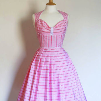 Pink, Red and White Striped Cotton Heidi Prom Dress - Made by Dig For Victory