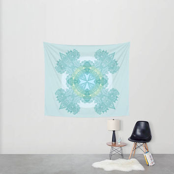 Mandala Wall Tapestry - Fabric wall art - aqua turquoise boho,  dorm room, beautiful, pastel,  wall art, apartment