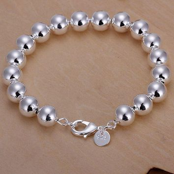 H136-2 925 jewelry silver plated bracelet 925 jewelry charm bracelet 10mm Hollow Beads Bracelet