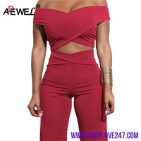 ADEWEL 2018 Sexy Bodycon Bandage Women Sets Off Shoulder Criss Cross Crop Top & Long Pants Two Piece Set Party Club Clothing