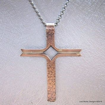 Hammer Forged Copper Silver Inlay Rustic Men's Cross Necklace