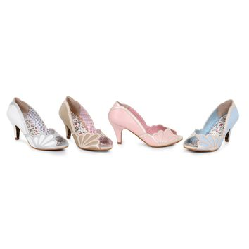 Ellie Shoes E-BP310-Heather Metallic Detailing Peep Toe Heel
