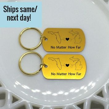 1 - Gold Long Distance Friendship, Long Distance Relationship, State or Country, Custom Gold Engraved Keychain, Deployment Keychain