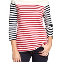 Women's Mixed-Stripe Textured-Rib Tops