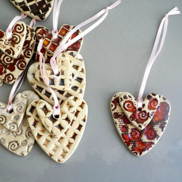 Set of 3 Christmas heart ornaments , 3 random Christmas heart ornaments , heart decoration , holiday decor ,  heart Christmas hanger