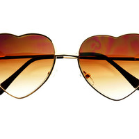 Retro Fashion Gold Metal Heart Love Womens Sunglasses W1531