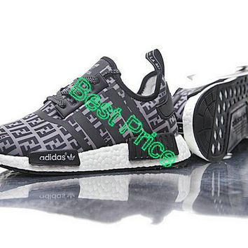2018 Newest Unisex FENDI x Adidas NMD R1 Boost Grey Black BA7747 sneaker