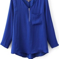 Patched Pocket Solid Pleated Blouse - OASAP.com