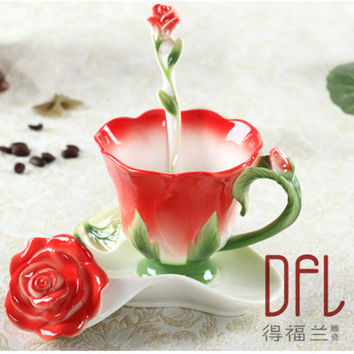 Rose Enamel Coffee Mug Porcelain Tea Milk Cup Set With Creative Ceramic Spoon Saucer European Bone China Drinkware