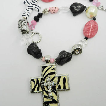 Zebra Cross Necklace Pink Black Turquoise Cross  Chunky Necklace