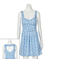 Candie's Polka-Dot Heart Cutout Dress - Juniors