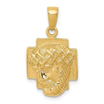 14K Yellow Gold Gold Polished 2-D Small Jesus Head with Crown Pendant