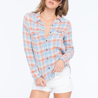 Vanilla Star Plaid Womens Shirt Orange  In Sizes