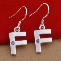 FENDI Fashion Women 925 Silvery Earring Simple F Letter Earrings I12854-1