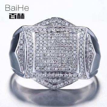 BAIHE Solid 14K White Gold(AU585) 0.88CT Certified H/SI Round Cut 100% Genuine Natural Diamonds Wedding Men Casual/Sporty Ring