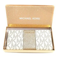ONETOW Michael Kors Vanilla Monogram Gold Glitter Center Stripe Large Travel Wallet