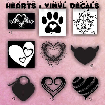 HEARTS vinyl decals - 1-9 - car decals - hearts stickers - girly hearts decals -