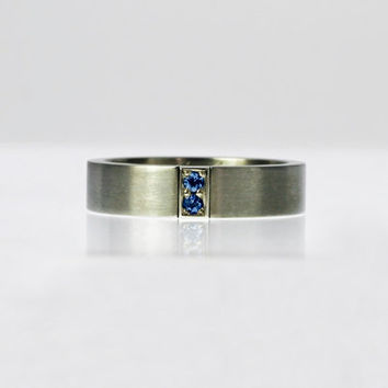 Blue sapphire wedding band, titanium, white gold, men sapphire ring, men's wedding ring, men blue ring, modern, men titanium wedding, unique