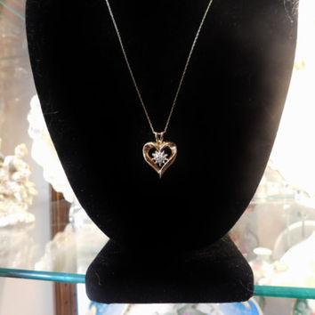 Gold Heart Necklace Pendant GTR 10k Gold with Diamond Vintage Necklace with Original 10k Gold Chain Included Open Heart Snowflake Love Gift