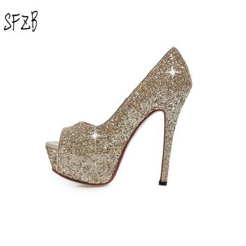 SFZB 2018 Women Pumps Sexy Stilleto High Heels pumps Shoes Fashion Bling Party Wedding Shoes Heels Zapatos Mujer