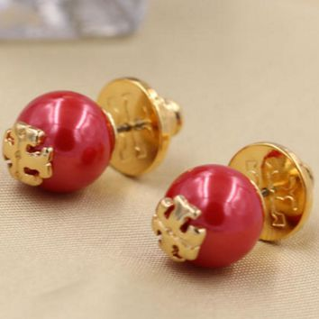 TORY BURCH Pearl logo with simple ear nail earrings Red