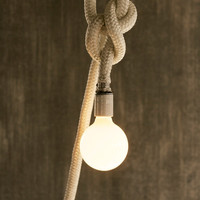 White Rope Nautical Pendant Light Rope Light Cage Lamp Hanging Light Lighting - Luke Lamp Co.