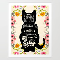 Crazy Cat Lover Typography Art Print by digitaleffects