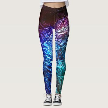 Rainbow Color Crumpled Foil Effect Graphic Print Leggings