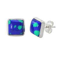 Azurite Malachite Stud Earrings 925 Sterling Silver 9mm Square