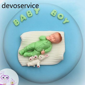 Baby Boy Girl Doll Bear 3D Silicone Soap Mold Baby Shower Party Fondant Cake Decorating Tools Chocolate Candy Pudding Moulds