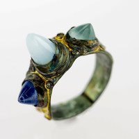 Oregon Opal, Aquamarine, Tanzanite Gold and Oxidized Silver Artifactual Spike Ring