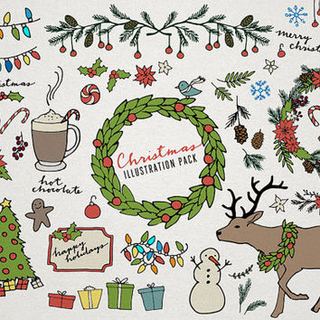 Christmas Clipart, holiday clipart, wreath art, hand drawn xmas, reindeer illustration, candy cane drawing, christmas tree, winter clipart