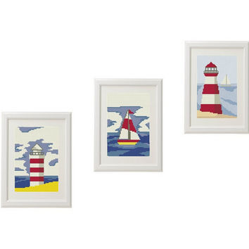 Sea Lighthouse Ship Cross Stitch pattern modern Set of 3 Gift ideas Nautical embroidery cross stitch   Counted cross stitch pattern
