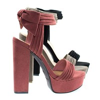 Tournament18m By Bamboo, Chunky Block Heel Sandal On Platform w Ruffle & Rear Bow D??cor