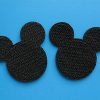 2 pcs Iron-on Embroidered Patch Mickey Mouse Shadow 2 inch