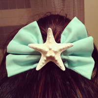 Aquamarine Hair Bow by byElizabethSwan on Etsy