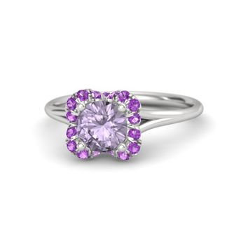 Round Rose de France Sterling Silver Ring with Amethyst