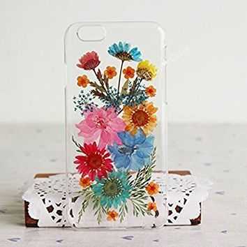 Rebbygena Real Flower Phone Case iPhone 7 Plus Clear Case Colorful Flower Petal Soft Case for iPhone 7 Plus Smart Apple Phone Case for Women