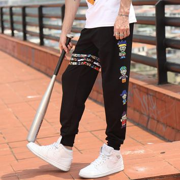 2016 Cargo Pants men casual overalls Trousers plus size Color stripes Cartoon character L - 4XL Loose  Dance Harem Hip Hop Pants