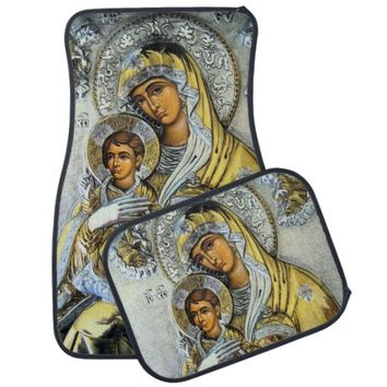 Madonna & Child Metallic Relief Car Floor Mat