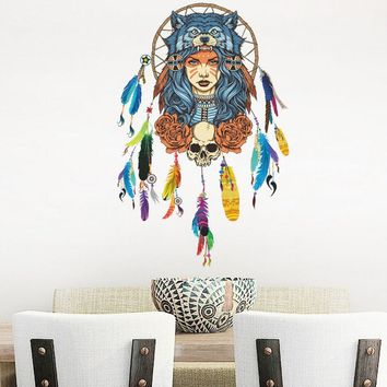 Indian Wolf Headdress Full Color Girl Wall Stickers Wall Decorative Creative Removable Wall Stickers