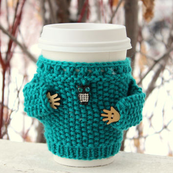 Cup sweater. Coffe cozy. Knitted cup sleeve. Teal wool. Rhinestone owl charm. Cup cozy wooden hands Eco-friendly handmade. Office coffee cup