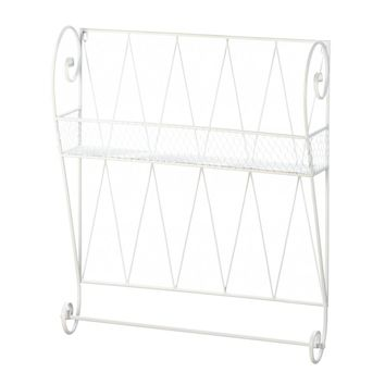 Iron White Wire Wall Shelf