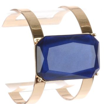 Blue Emerald Cut Shimmer Stone Layered Metal Cuff Bracelet